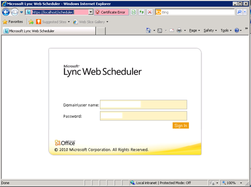 Lync Web Scheduler Login