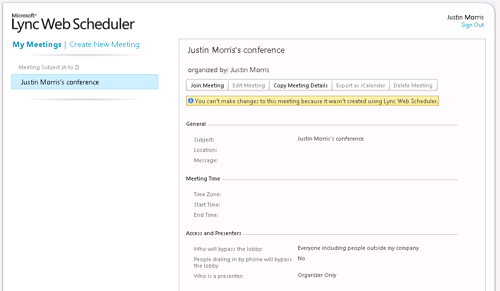 Lync Web Scheduler