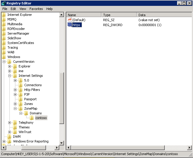Excluding local intranet URLs from filtering in the Windows registry