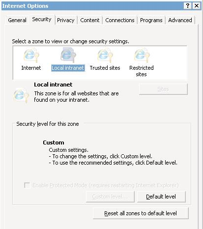 internet options when opened using Network Service account