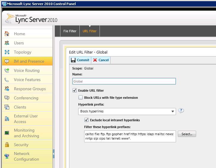 URL filtering in Lync Server 2010