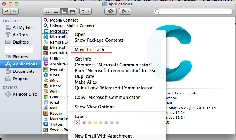 Communicator for Mac OSX Lion