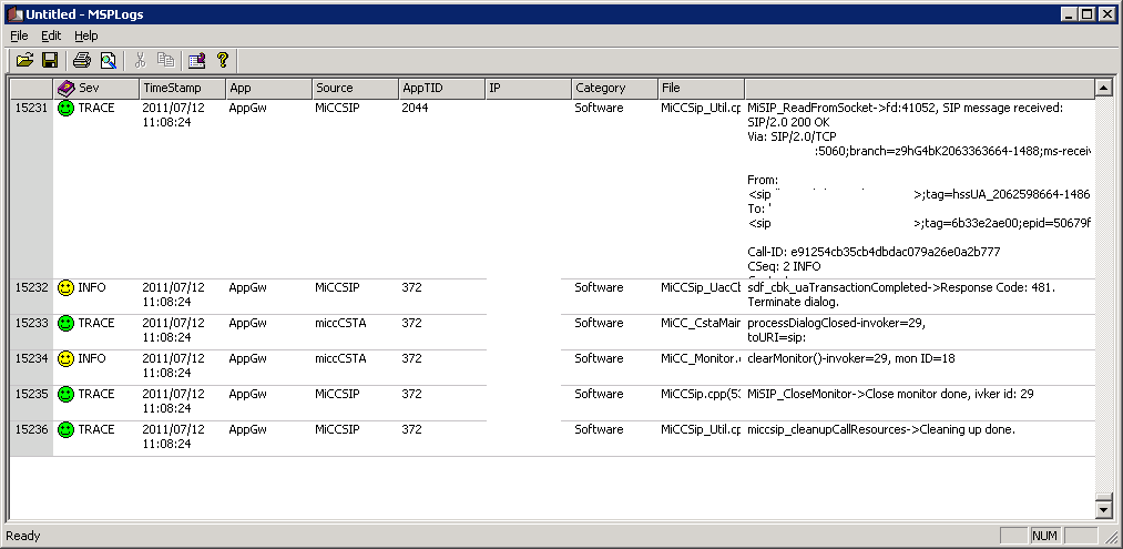 Mitel LBG Log Viewer