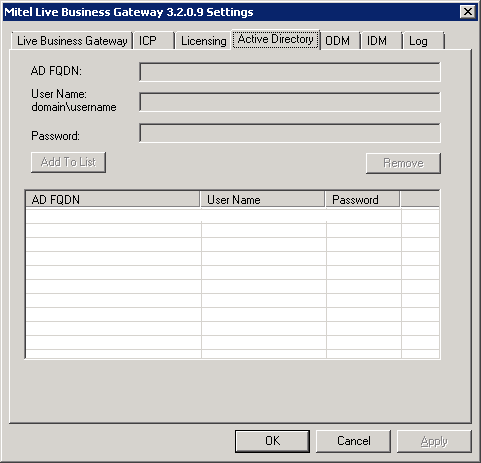 Mitel Live Business Gateway - Active Directory