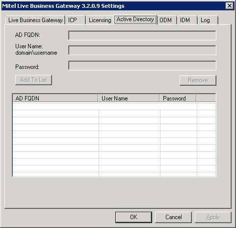 Mitel Live Business Gateway - Active Directory