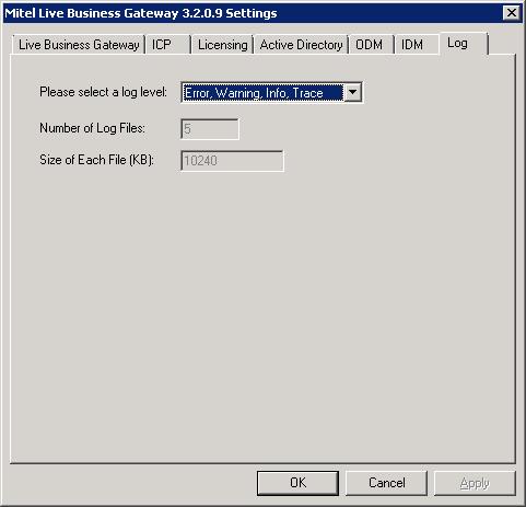 Mitel Live Business Gateway - Log