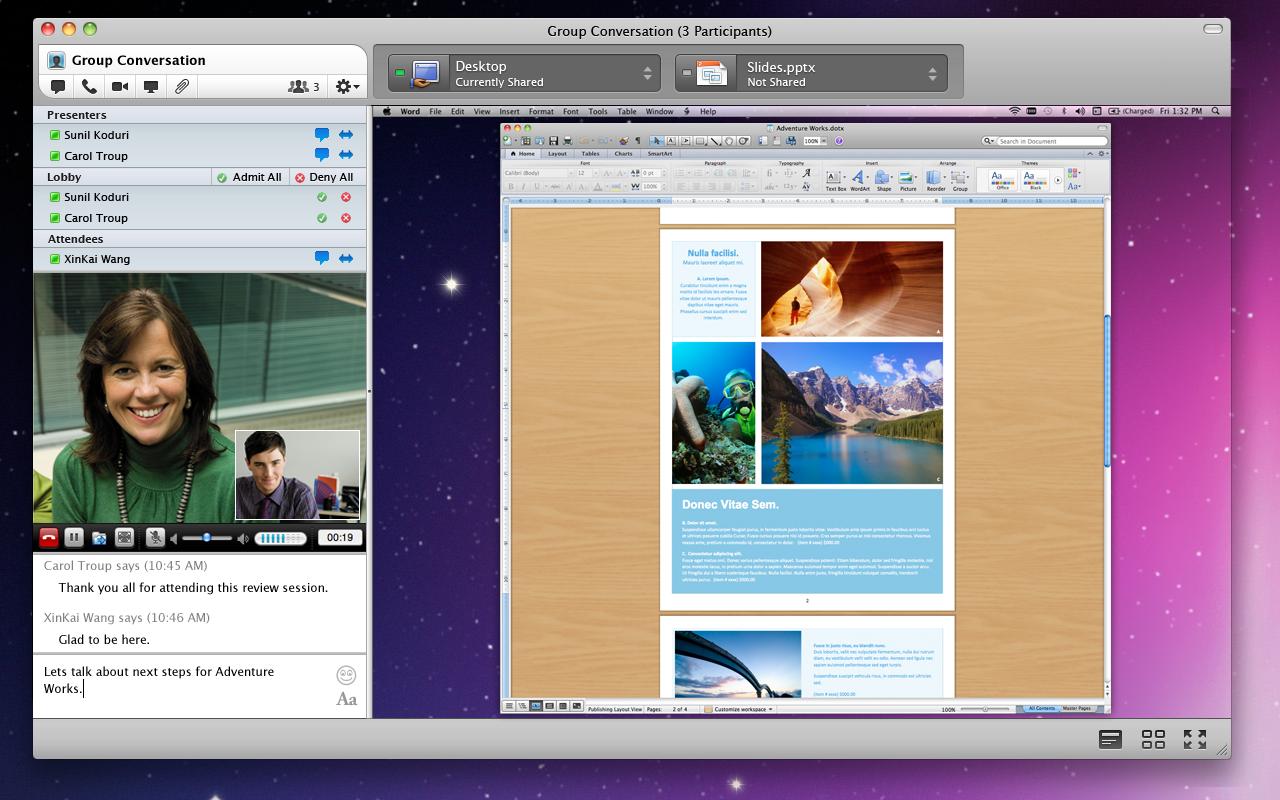 Lync for Mac -Sharing-Window