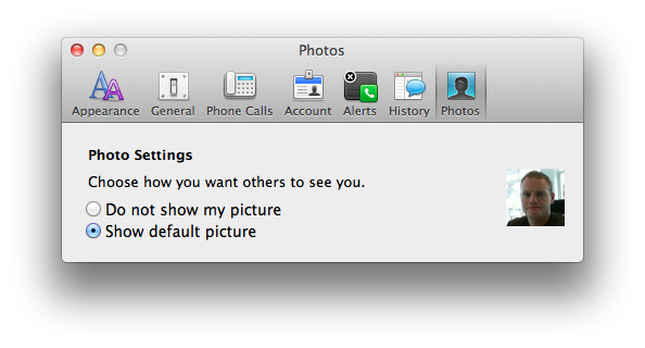 Lync for Mac 2011 - Photos in Preferences
